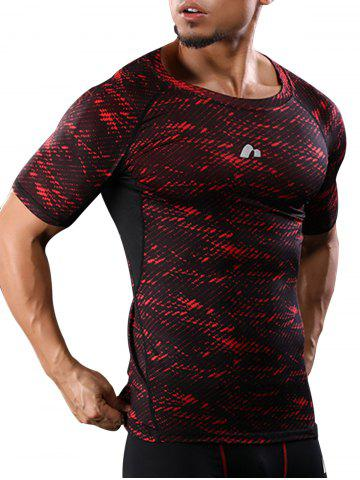 Camouflage Raglan Sleeve Quick Dry Stretch Gym T-shirt Rouge M
