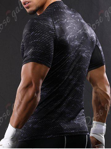 Latest Camouflage Raglan Sleeve Quick Dry Stretchy Gym T-shirt - 2XL GRAY Mobile