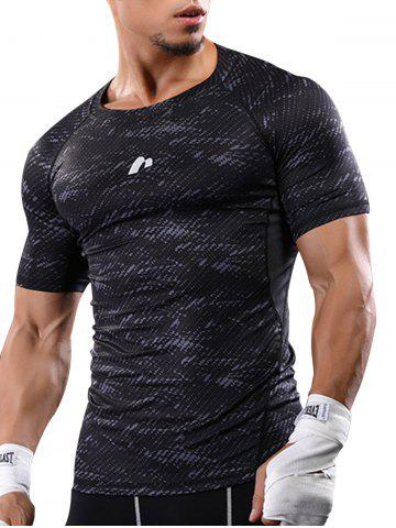 Latest Camouflage Raglan Sleeve Quick Dry Stretchy Gym T-shirt - M GRAY Mobile