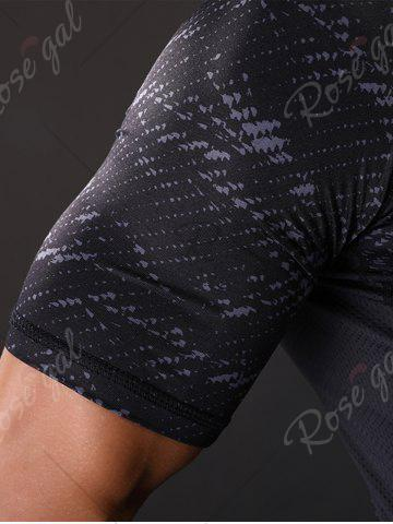 Online Camouflage Raglan Sleeve Quick Dry Stretchy Gym T-shirt - M GRAY Mobile