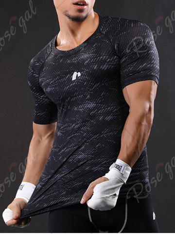 Unique Camouflage Raglan Sleeve Quick Dry Stretchy Gym T-shirt - M GRAY Mobile