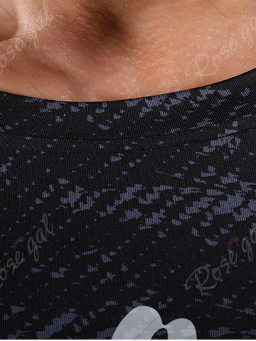Shops Camouflage Raglan Sleeve Quick Dry Stretchy Gym T-shirt - M GRAY Mobile