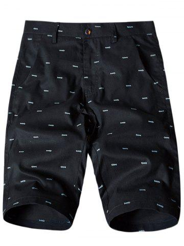 Unique Allover Fish Bone Print Casual Shorts - 40 BLACK Mobile