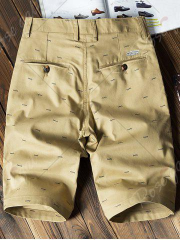 Online Allover Fish Bone Print Casual Shorts - 40 EARTHY Mobile