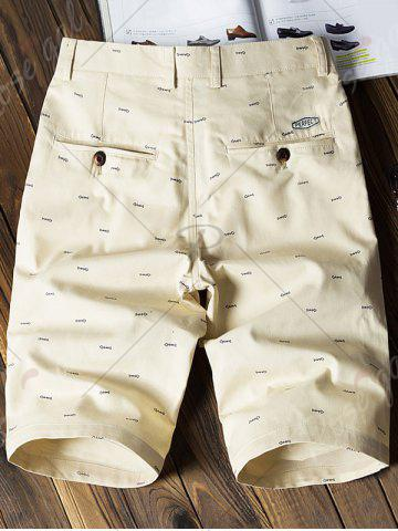Sale Allover Fish Bone Print Casual Shorts - LIGHT KHAKI 34 Mobile