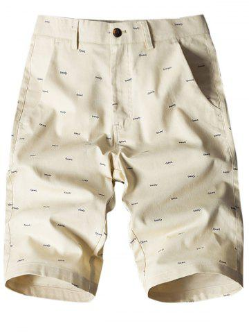 Shops Allover Fish Bone Print Casual Shorts - LIGHT KHAKI 34 Mobile
