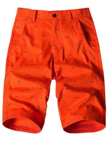 Sale Allover Fish Bone Print Casual Shorts ORANGE 36