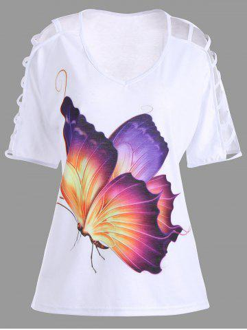 Unique Plus Size Cut Out Butterfly Print Tee - 5XL WHITE Mobile