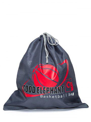 Trendy Grapic Print Basketball Drawstring Bag DEEP GRAY
