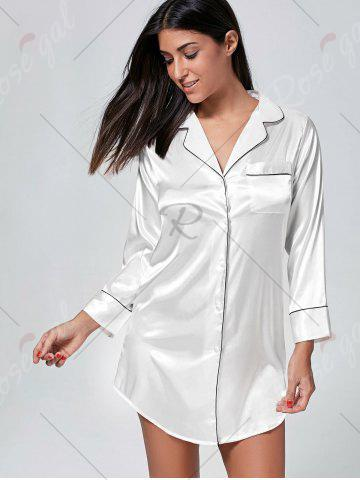 Outfits Satin Shirt Pajama Dress - L WHITE Mobile