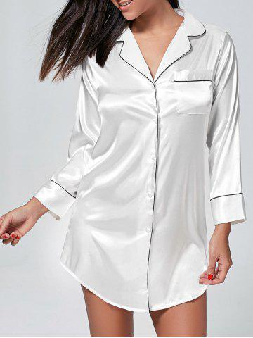 Fashion Satin Shirt Pajama Dress - L WHITE Mobile