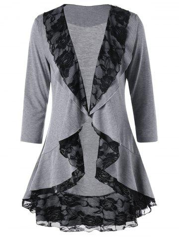 Chic Shawl Collar Lace Trim Cardigan