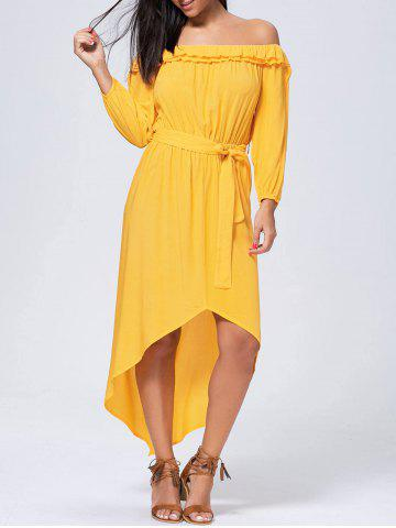 Latest Long Sleeve High Low Off Shoulder Dress YELLOW XL