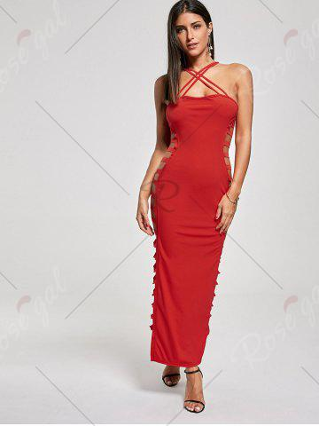 Affordable Backless Criss Cross Cut Out Maxi Club Dress - L RED Mobile