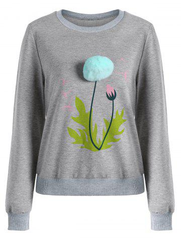 Shops Crew Neck Floral Pom Pom Sweatshirt - M GRAY Mobile
