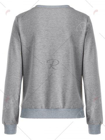 Affordable Crew Neck Floral Pom Pom Sweatshirt - M GRAY Mobile