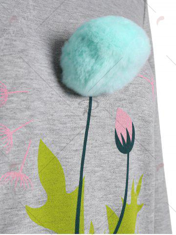 Buy Crew Neck Floral Pom Pom Sweatshirt - M GRAY Mobile