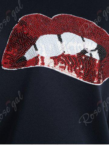 Fashion Crew Neck Sequin Lip Pattern Sweatshirt - S PURPLISH BLUE Mobile