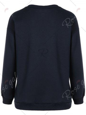 Online Crew Neck Sequin Lip Pattern Sweatshirt - S PURPLISH BLUE Mobile