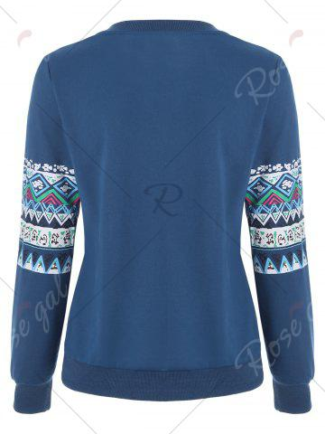 Outfit Casual Print Crew Neck Sweatshirt - XL BLUE Mobile