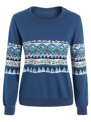 Cheap Casual Print Crew Neck Sweatshirt - XL BLUE Mobile