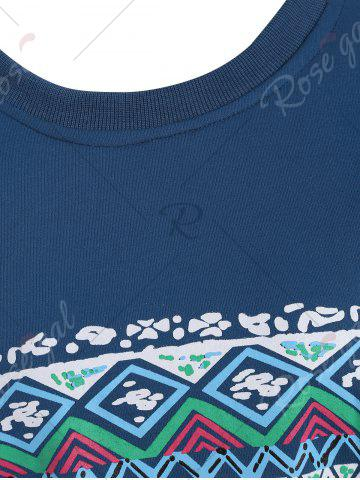 Online Casual Print Crew Neck Sweatshirt - XL BLUE Mobile