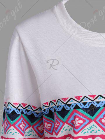 Outfit Casual Print Crew Neck Sweatshirt - S WHITE Mobile