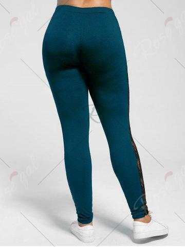 Affordable Plus Size Lace Trim Sheer Leggings - 5XL PEACOCK BLUE Mobile
