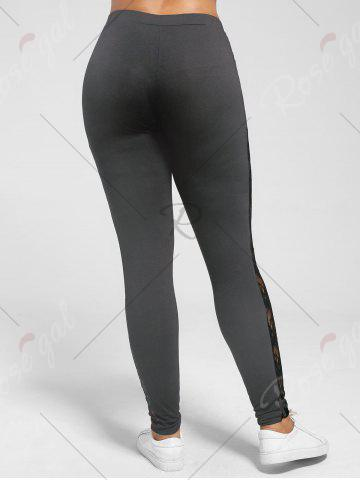 Sale Plus Size Lace Trim Sheer Leggings - XL DEEP GRAY Mobile