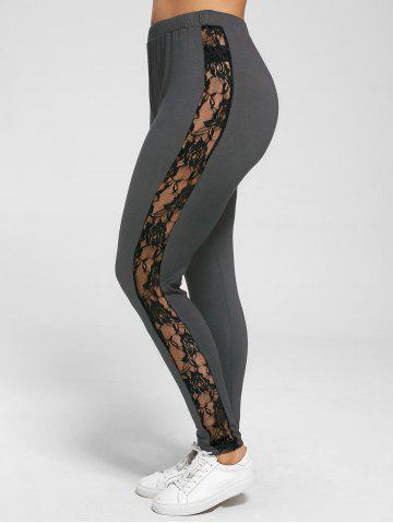 Cheap Plus Size Lace Trim Sheer Leggings - XL DEEP GRAY Mobile