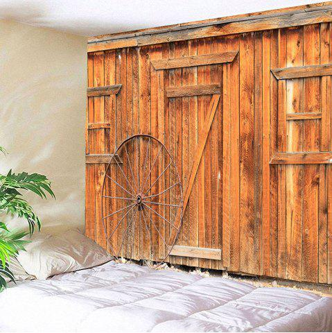 Wooden Door Wheel Printed Waterproof Tapestry - Earthy - W79 Inch * L79 Inch