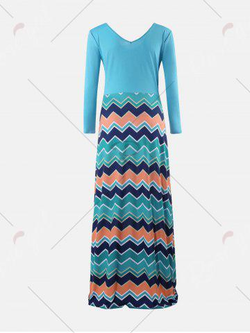 Outfit Chevron Print Long Sleeve Maxi Dress - S LIGHT BLUE Mobile