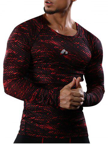 Camouflage Quick Dry Openwork Panel Gym T-shirt - Red - M