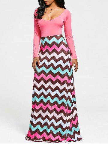 Fancy Zigzag Stripe Print Long Sleeve Maxi Dress PAPAYA M