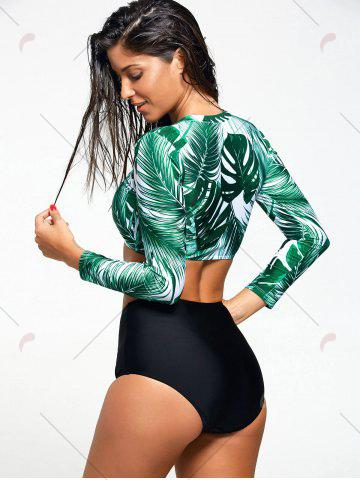 Affordable Tropical Leaf Print Long Sleeve Diving Wetsuit - S COLORMIX Mobile