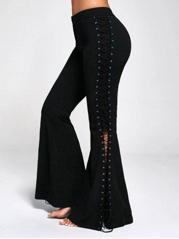 Discount Criss Cross Lace Up Side Flare Pants