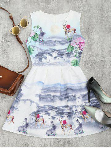 Hot Printed Fit and Flare Mini Dress