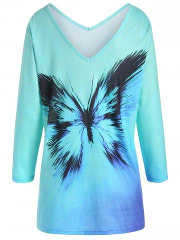 Fashion Plus Size Ombre Butterfly Print Tee