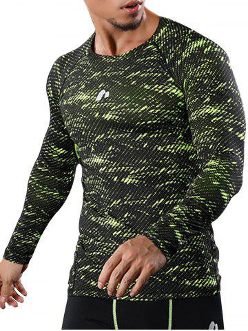 Trendy Camouflage Quick Dry Openwork Panel Gym T-shirt
