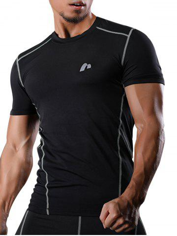 Fancy Short Sleeve Suture Quick Dry Stretchy Gym T-shirt