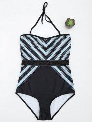 One Piece Striped Padded Swimsuit