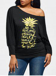Pineapple Letters Skew Neck Long Sleeve Top