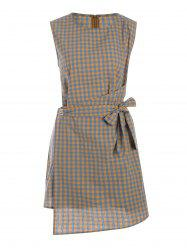 Plus Size Apron Plaid Mini Sleeveless Dress