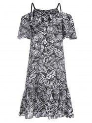 Plus Size Leaf Print Cold Shoulder Dress
