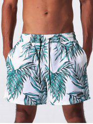 Leaves Print Drawstring Applique Board Shorts
