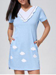 Ruffle Trim Shift Sleep Dress with Pocket