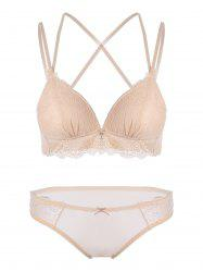 Criss Cross Padded Lace Bra Set