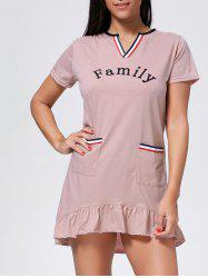 Pocket Flounce Short Sleeve Pajama Dress