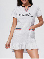 Pocket Flounce Short Sleeve Pajama Dress - LIGHT GRAY