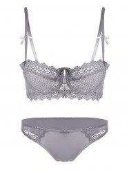 Underwire Embroidered Sheer Bra Set - GRAY 70A